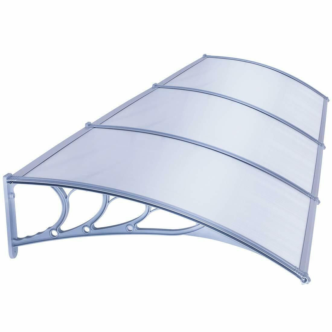 Vivohome Polycarbonate Outdoor Window Front Door Canopy Awning Cover Patio New A Awning Canopy Cove In 2020 Front Doors With Windows Front Door Canopy Door Canopy
