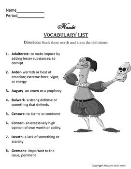 Hamlet Vocabulary List And Quiz Vocabulary List List Of Vocabulary Words Vocabulary