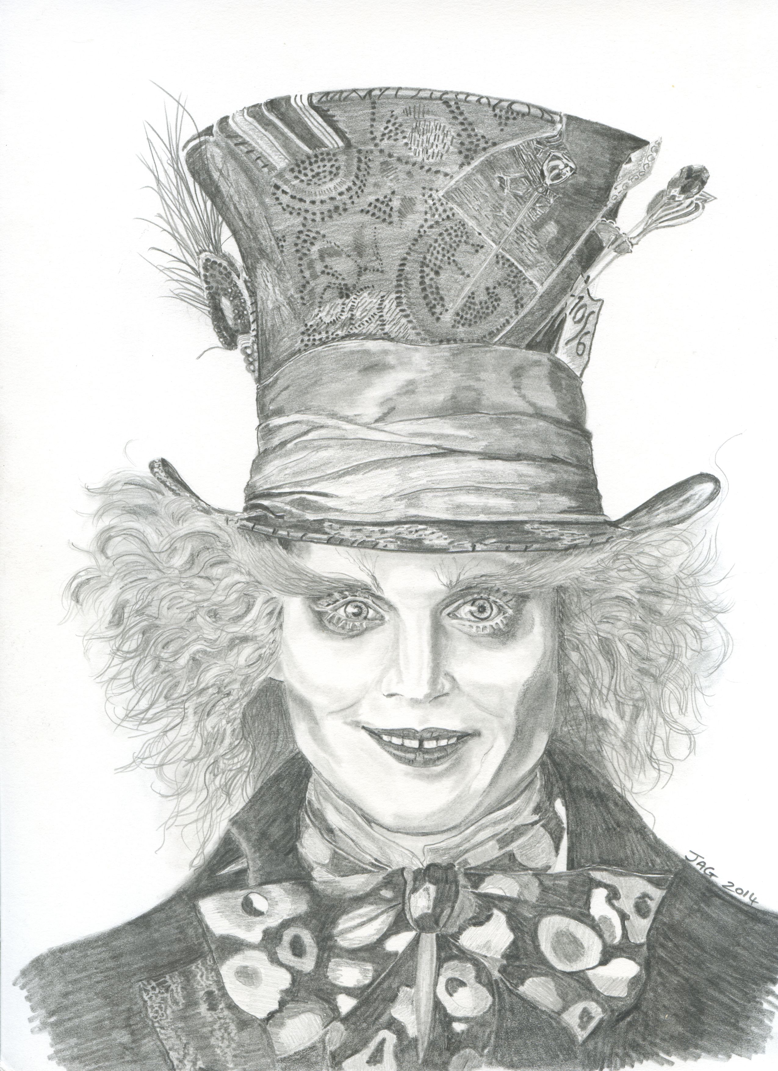 mad hatter actor johnny depp pencil drawing my artwork