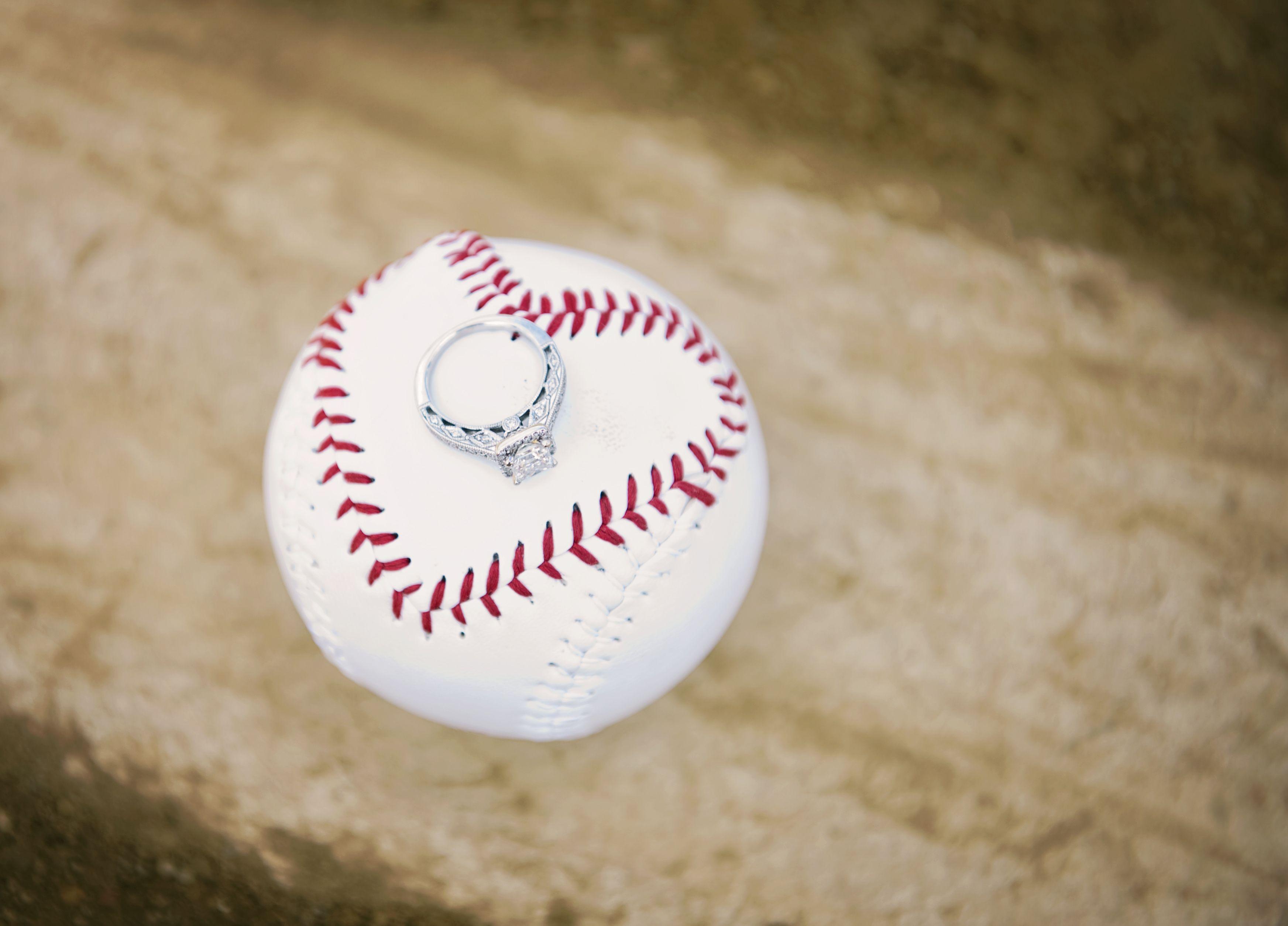 Engagement Ring On Baseball Wedding Engagement Pinterest