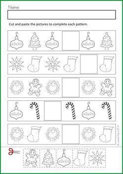 Free Christmas Cut Paste patterns worksheet.   Teacher Ideas ...