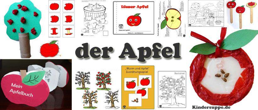 Apfel bastelideen spiele lieder fur kindergarten und for Basteln herbst kita