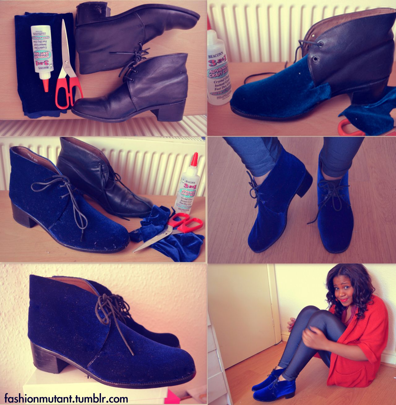 ff9c5295b79 How to Recycle old shoes and add a Velvet Layer http   fashionmutant.