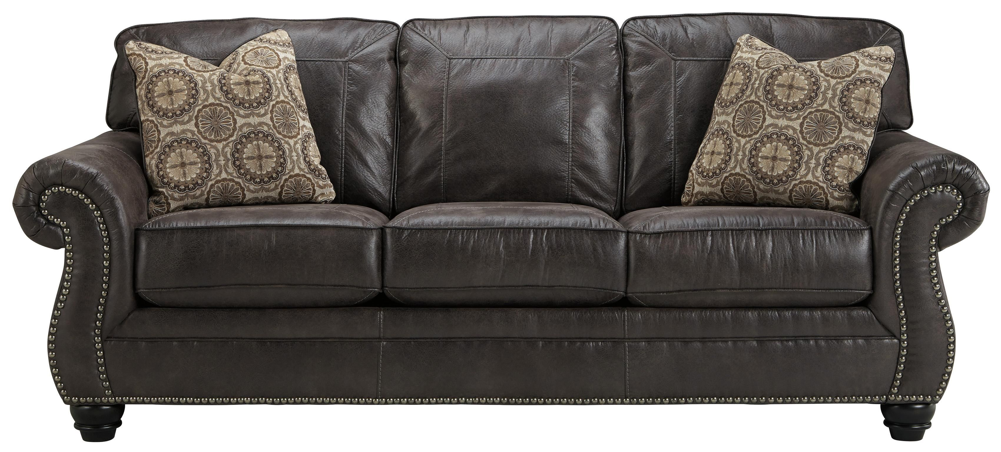 Recliner Sofa Faux Leather Queen Sofa Sleeper with Rolled Arms and Nailhead Trim