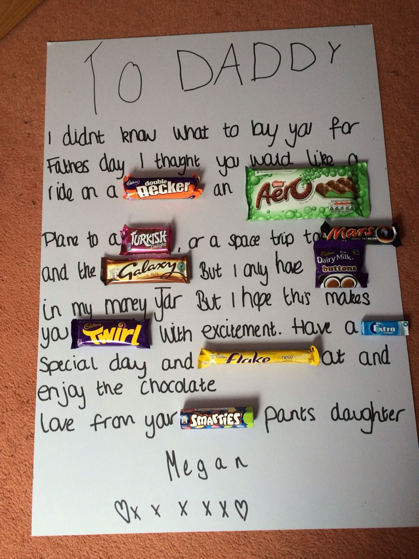 Fathers day alternative gift chocolatesweetie card