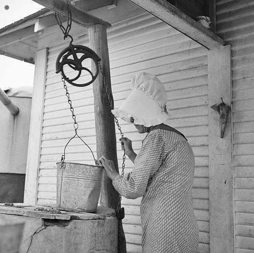 Farm Woman Drawing Water From A Well Kaufman County Texas 1936 Vintage American Art Old Pictures Dust Bowl