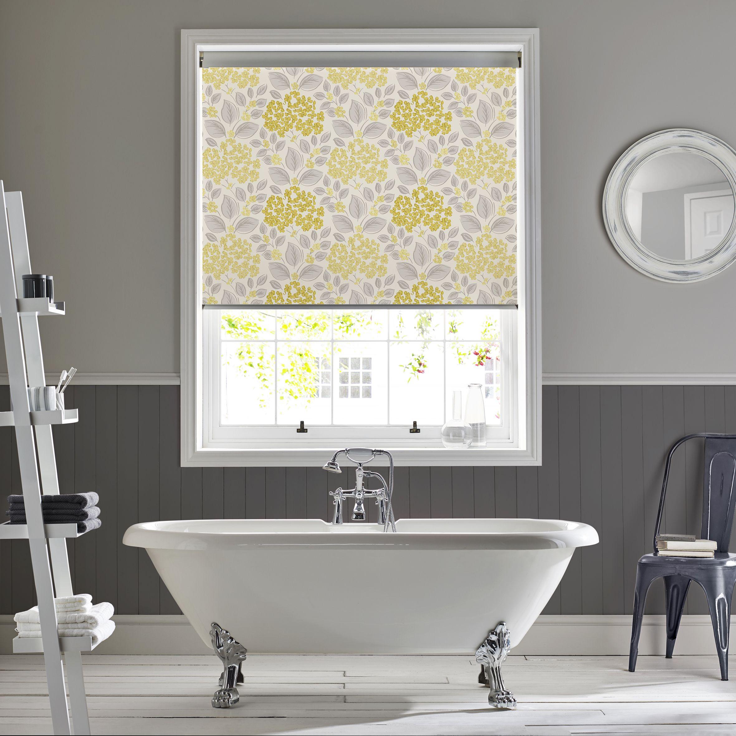 Hydrangea yellow roller blind by Style Studio