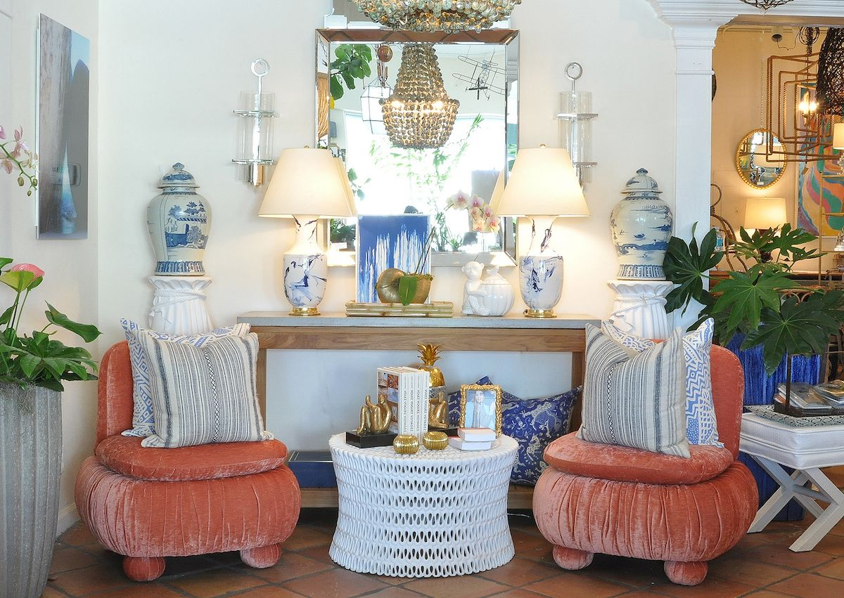 Coral, Blue And White Design At Mecox Palm Beach #interirodesign #home # Decor