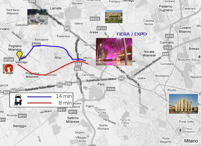 8 min. train to Fieramilano Rho and 20 min. to Milan.