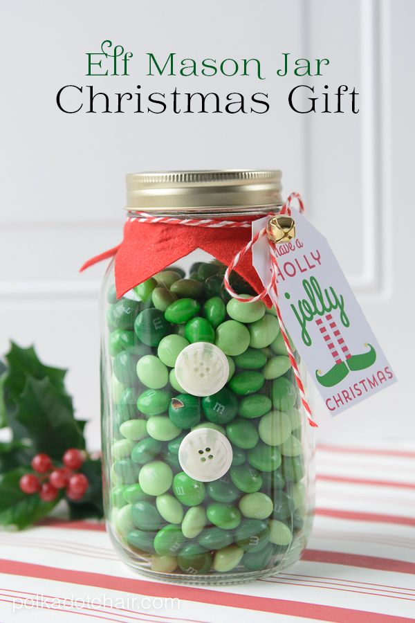 Cute Christmas Mason jar gifts and free printable Christmas gift tags. Make an Elf Mason Jar a Christmas Mason Jar Craft Idea & Elf Christmas Mason Jar Gifts | Holiday;) | Mason jar christmas ...
