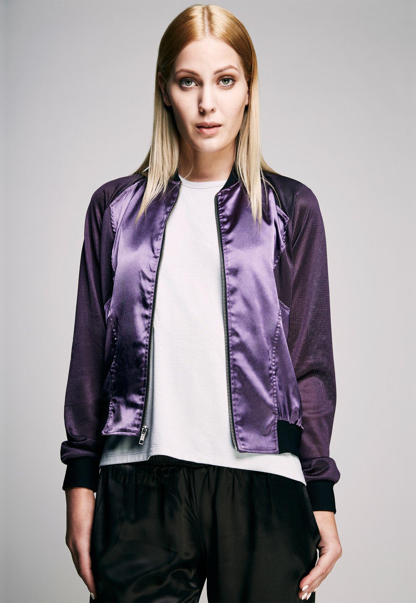 Shiny Purple Satin Bomber Jacket with Nylon Sports Mesh | CY ...