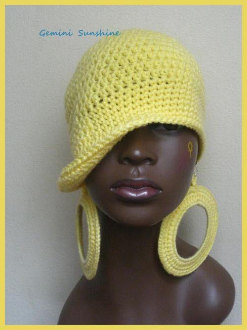 5 Dollars Off - Classy Yellow Hippie Crochet Hat and Earrings ...