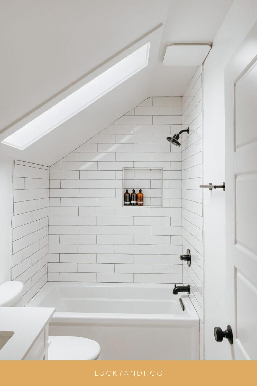 upstairs bathroom reveal  Sloped ceiling bathroom, Small attic