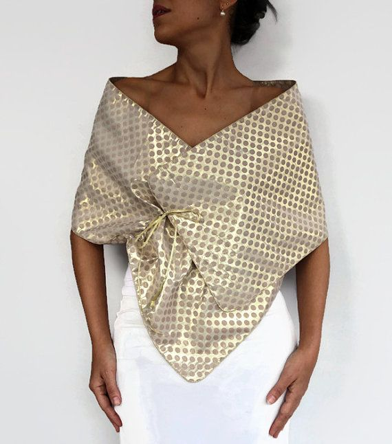 Evening Shawl Wrap Gold Beige Polka Dot Taffeta Scarf Wedding Mother Of The Bride Wear Shoulder Stole Costume Dress Cover Fashion Evening Shawls Dress Cover