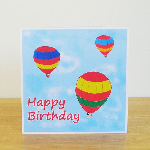 Hot Air Balloon Birthday Card Recycled Card Card For Her Card For