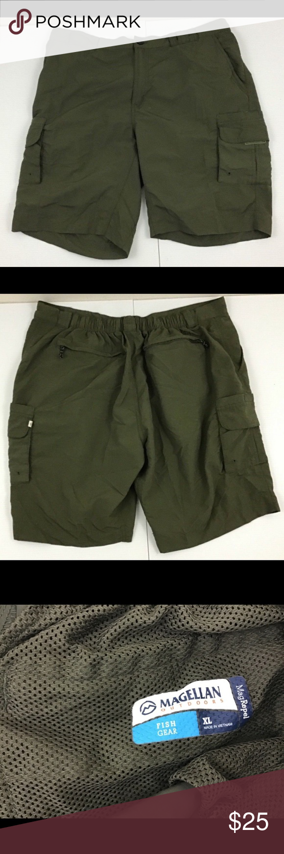 "2422756151 Magellan Fish Gear Mag Repel Cargo Shorts Size XL Magellan Fish Gear Mag  Repel Cargo Shorts Size XL Location W-27 17.5"" Across Waist 10.5"" Rise 9""  Inseam ..."