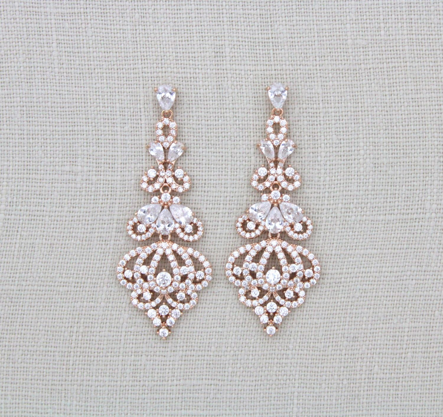 rose gold earrings bridal earrings bridal jewelry. Black Bedroom Furniture Sets. Home Design Ideas