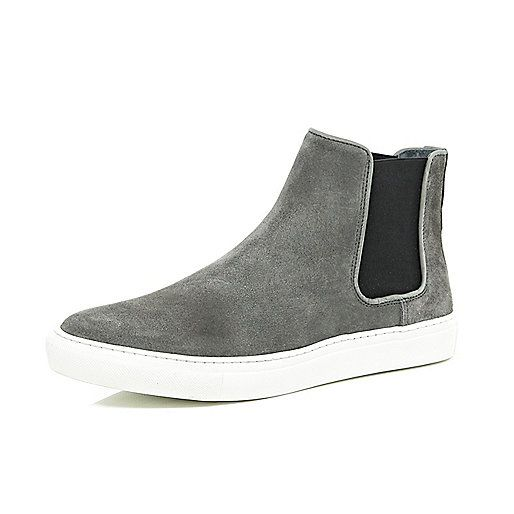 Dark grey suede flat sole Chelsea boots - trainers / hi tops - shoes / boots