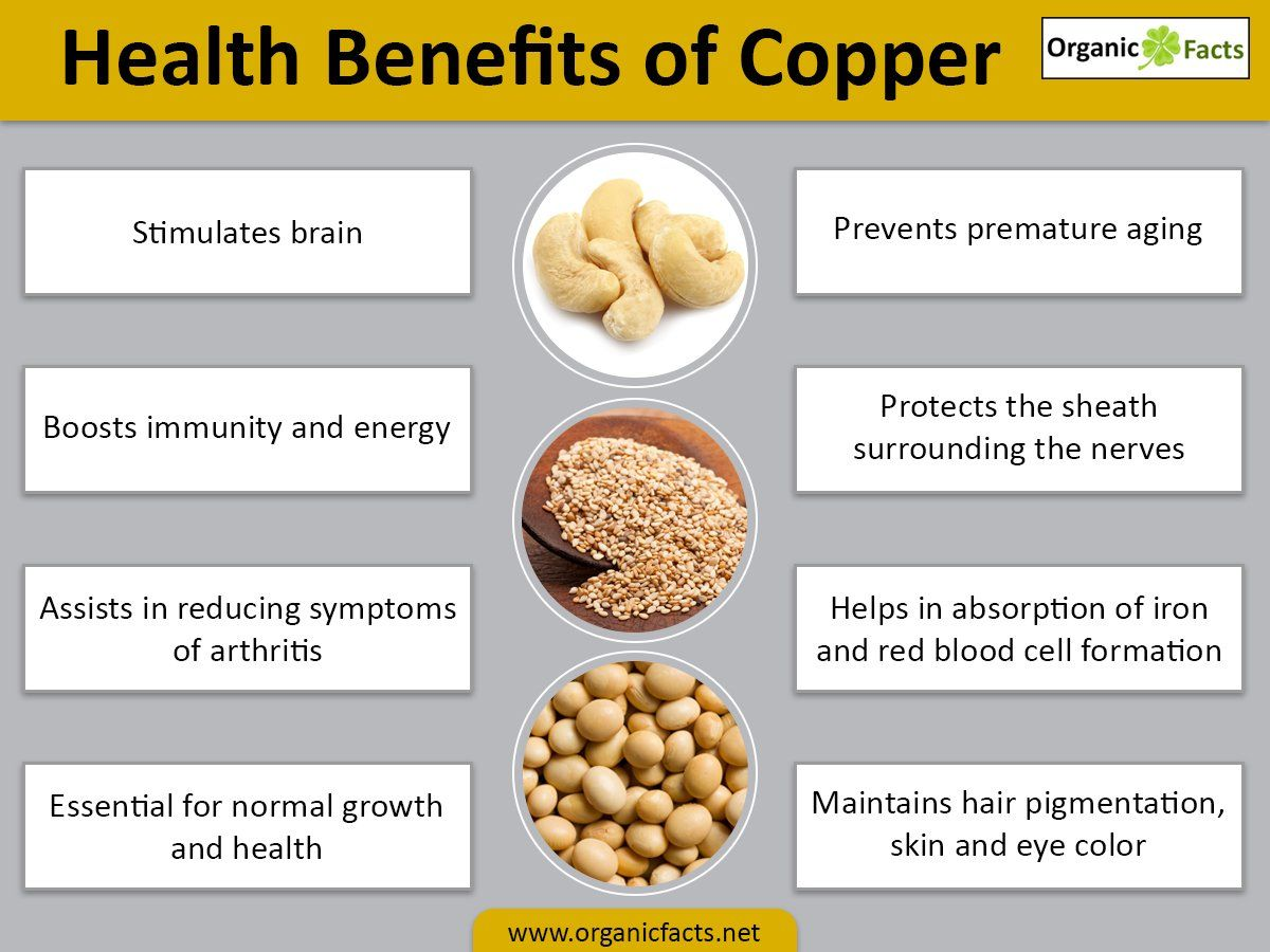 The health benefits of copper include proper growth