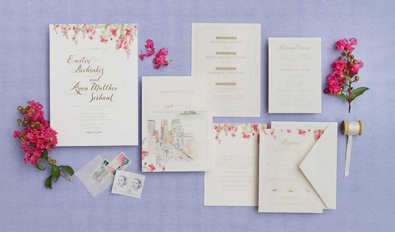 emilia bechakis ryan serhant greek wedding invitation suite ...