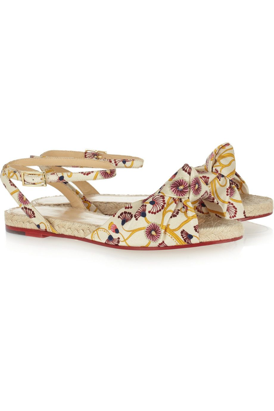 Charlotte Olympia Marina Printed Crepe De Chine Sandals in Yellow | Lyst