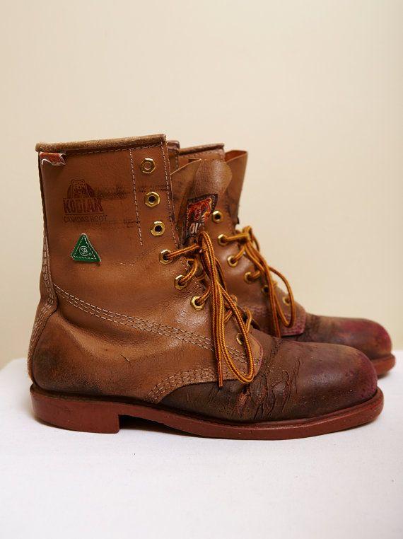 f9f3c5671d4 Vintage 1980s Men's Kodiak Work Boots in Brown/ Red Leather Acid ...