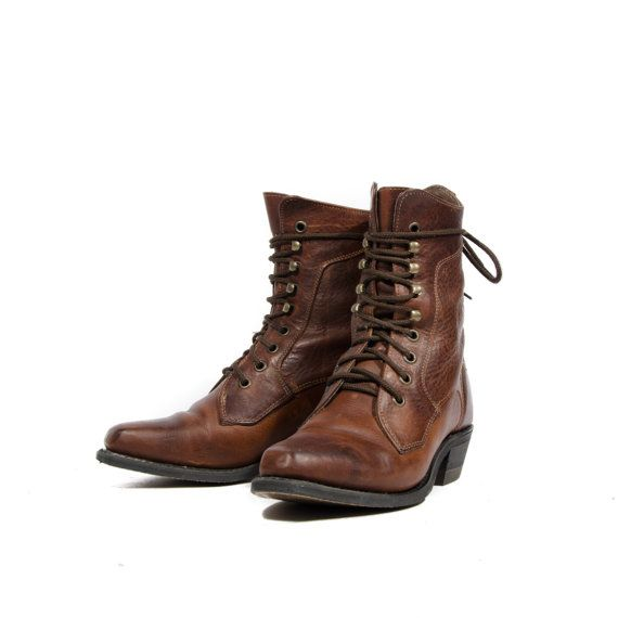 Brown Lace Up Ankle Boots Square Toe Western Grannies By Silver ...