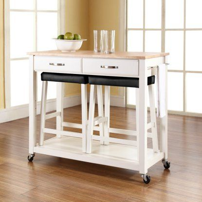Beau Crosley Kitchen Cart With Stools