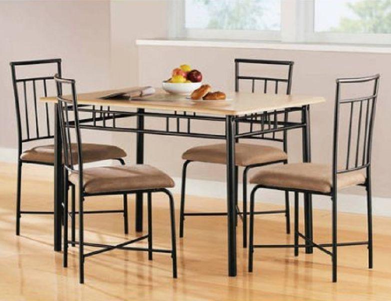 5-Piece Dining Room Set Natural Dinette Home Kitchen Furniture Wood