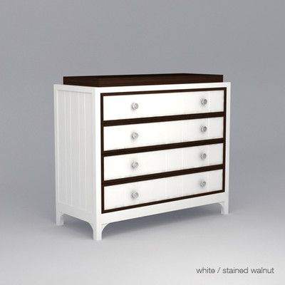 Ducduc Stonington 4 Drawer Changer Finish White Accent Finish Stained Walnut Ston4dc Fn W Ac Stainwaln