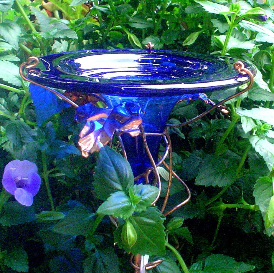 HUMMINGBIRD FEEDER stained glass copper by GloriasGlassGarden
