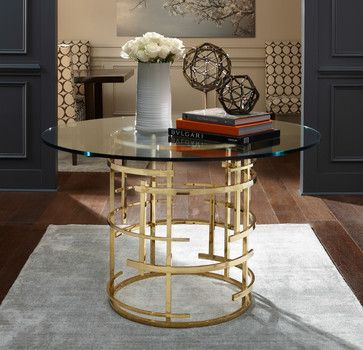 Jules Brass Glass Table Round Foyer Table Entryway Round