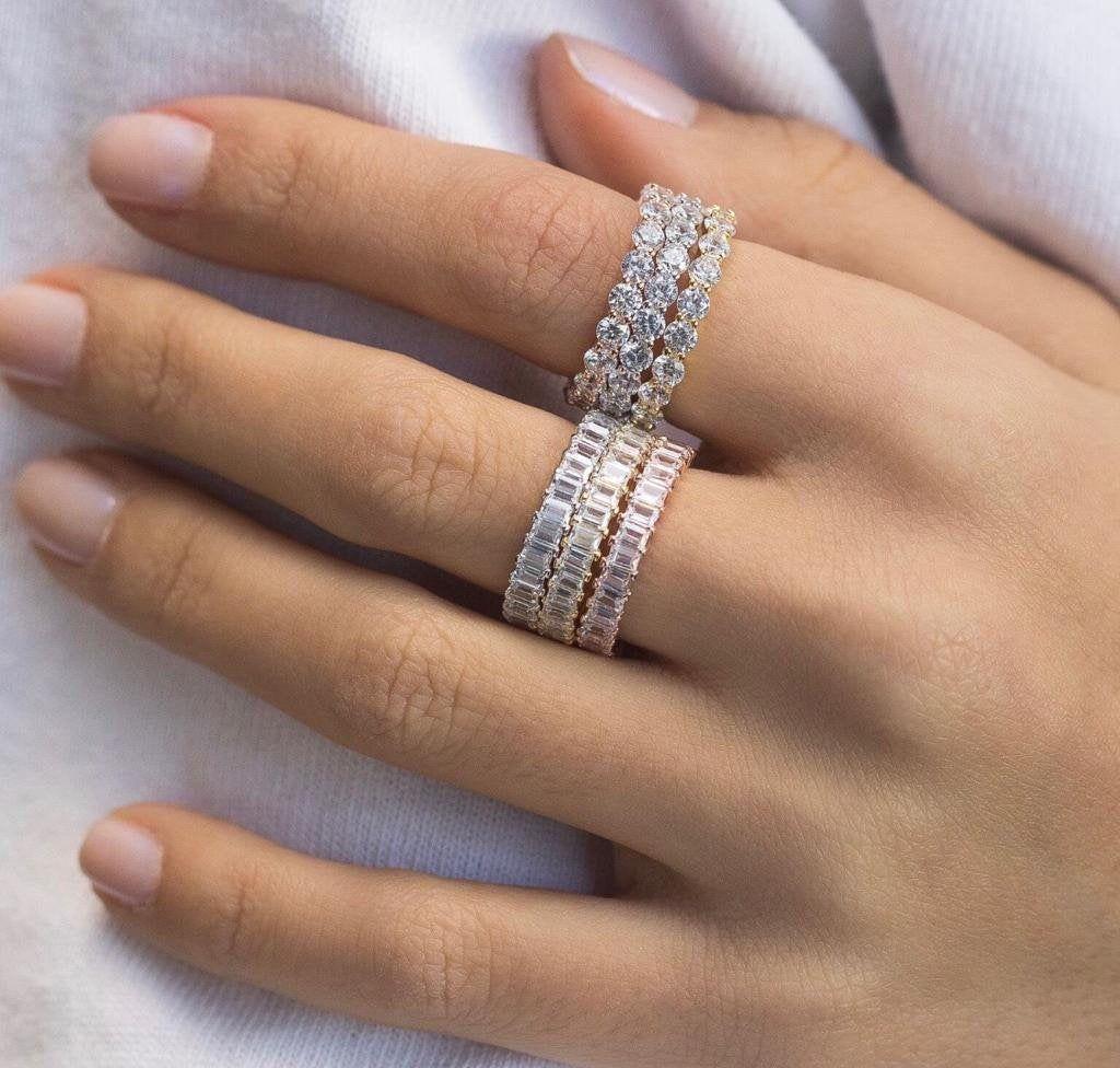 Stackable Rings Stacking Rings Trio Wedding Ring Set Wedding