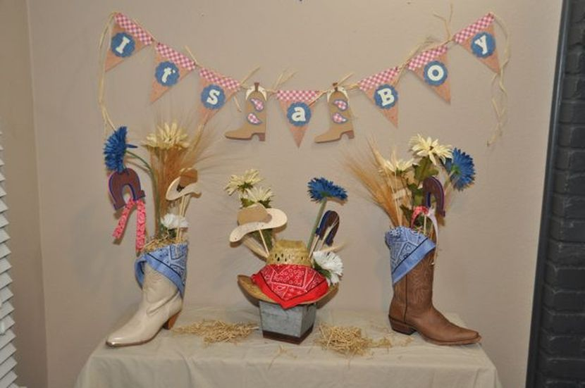 Charming Little Cowboy Baby Shower Theme Part - 9: Boy Baby Shower Decorations With Boots And Cowboy Hats