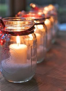 Mason jar candle holders. Make your home look country and Christmassy :)