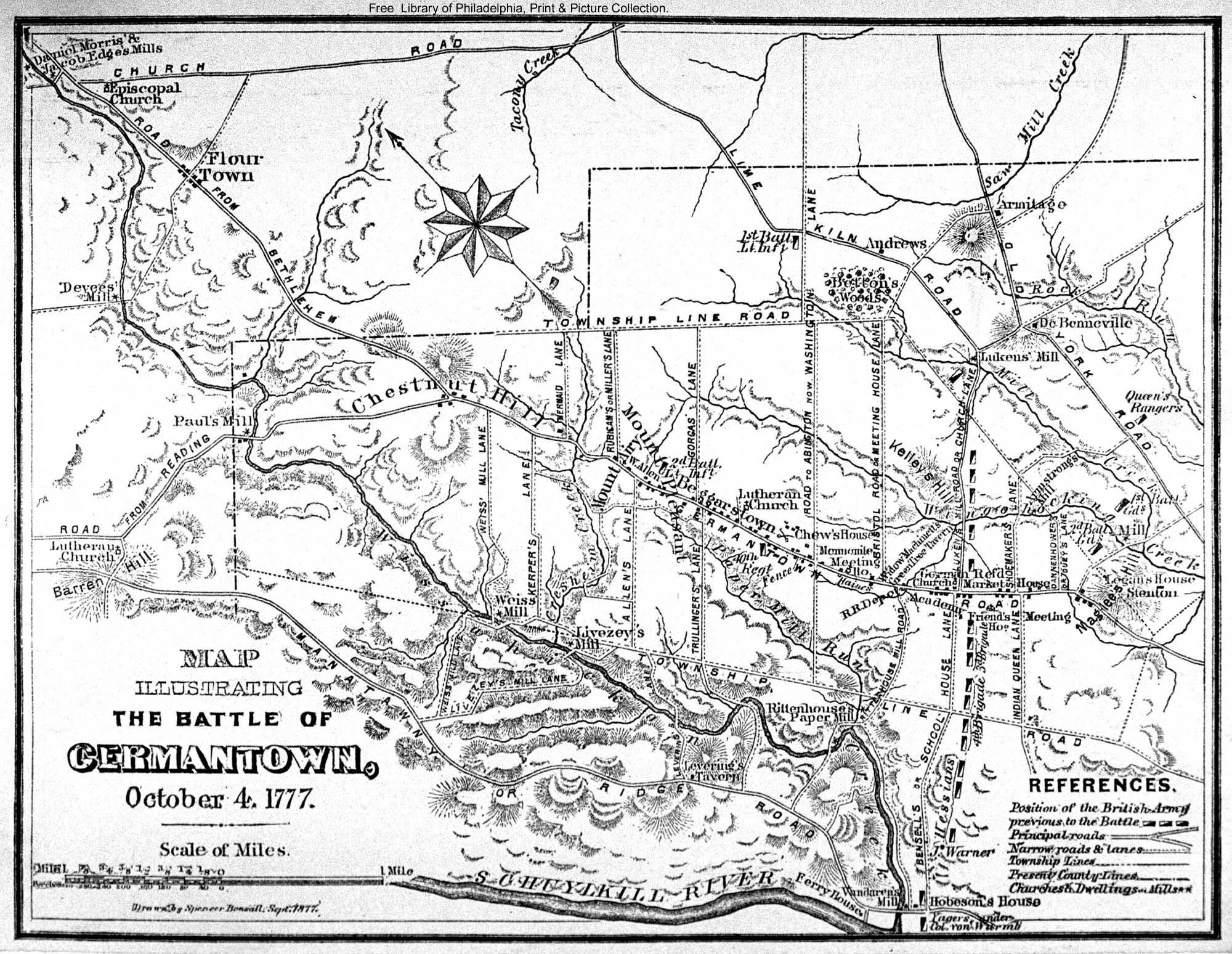 Map illustrating the Battle of Germantown 1777 drawn by Spencer