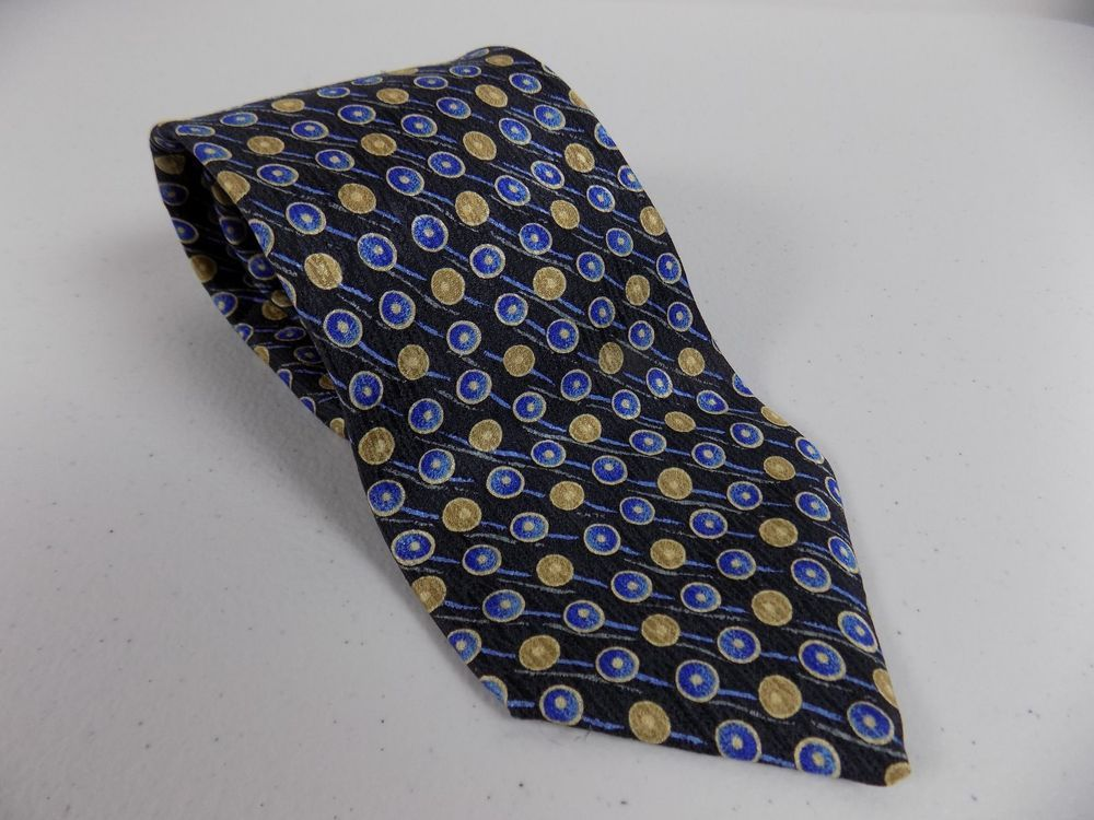 BRIONI Dark Blue With Geometric Pattern 100/% Silk Neck Tie $230 New