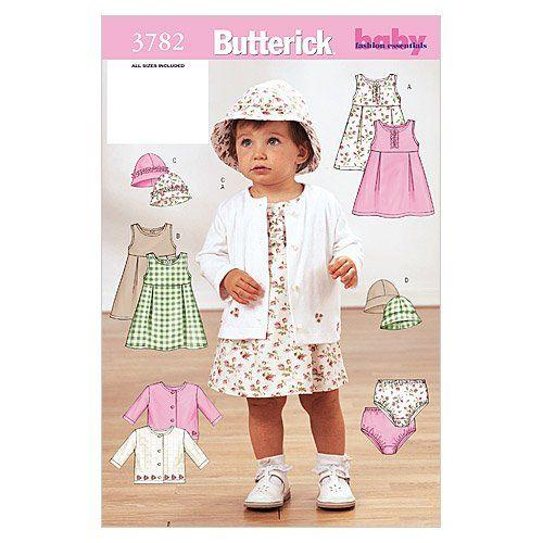 Butterick Patterns B4110 Infants Dress// Panties// Jumpsuit// Hat White Pack of 1