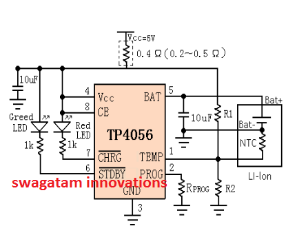 li ion battery charger circuit using ic tp4056 constant current rh pinterest com
