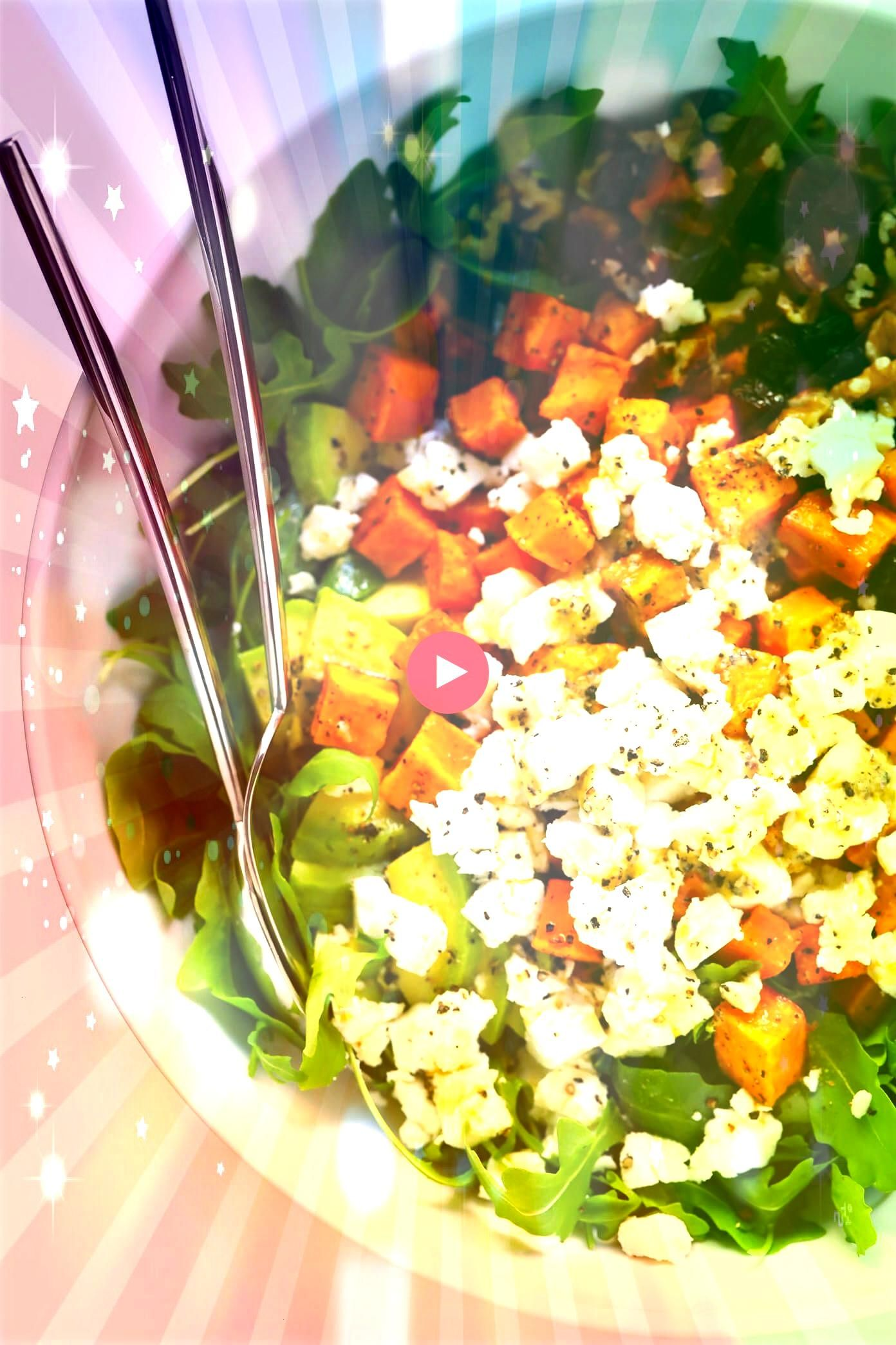 this FeelGood Fall Salad Its made with roasted sweet potato avocado arugula goat cheese nuts dried cranberries and tossed with a simple lemon dressing Its the perfect hea...