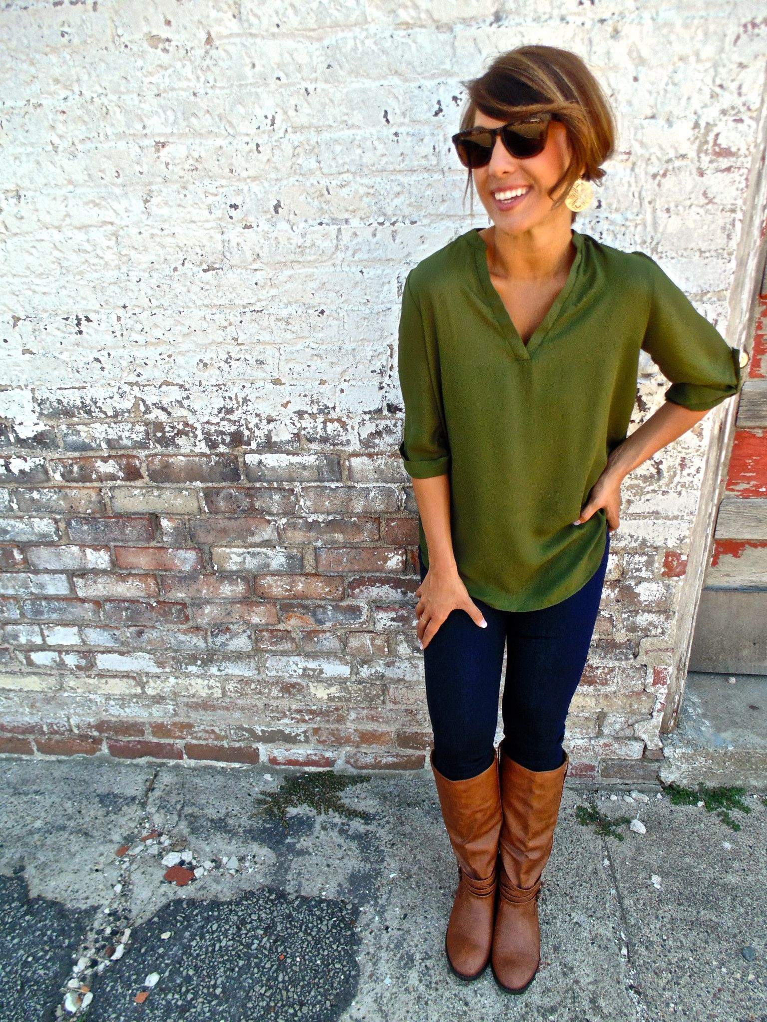 Easy fall styling classic blouse, leggings and cognac knee,high boots.  Green BlouseGreen ShirtBrown