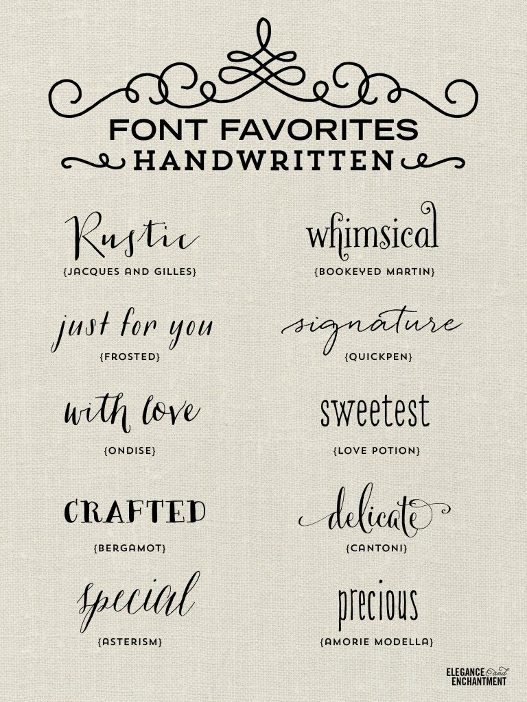 handwritten wedding invitations A collection of elegant handwritten fonts favorites from Elegance Enchantment