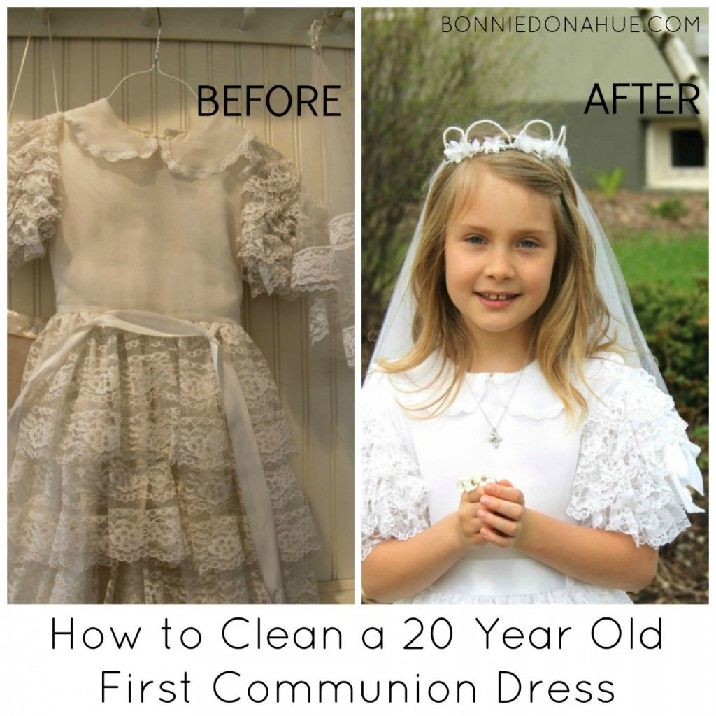 421e8189e Cleaning tips First Communion Banner, First Holy Communion, Holy Communion  Dresses, Old Ones
