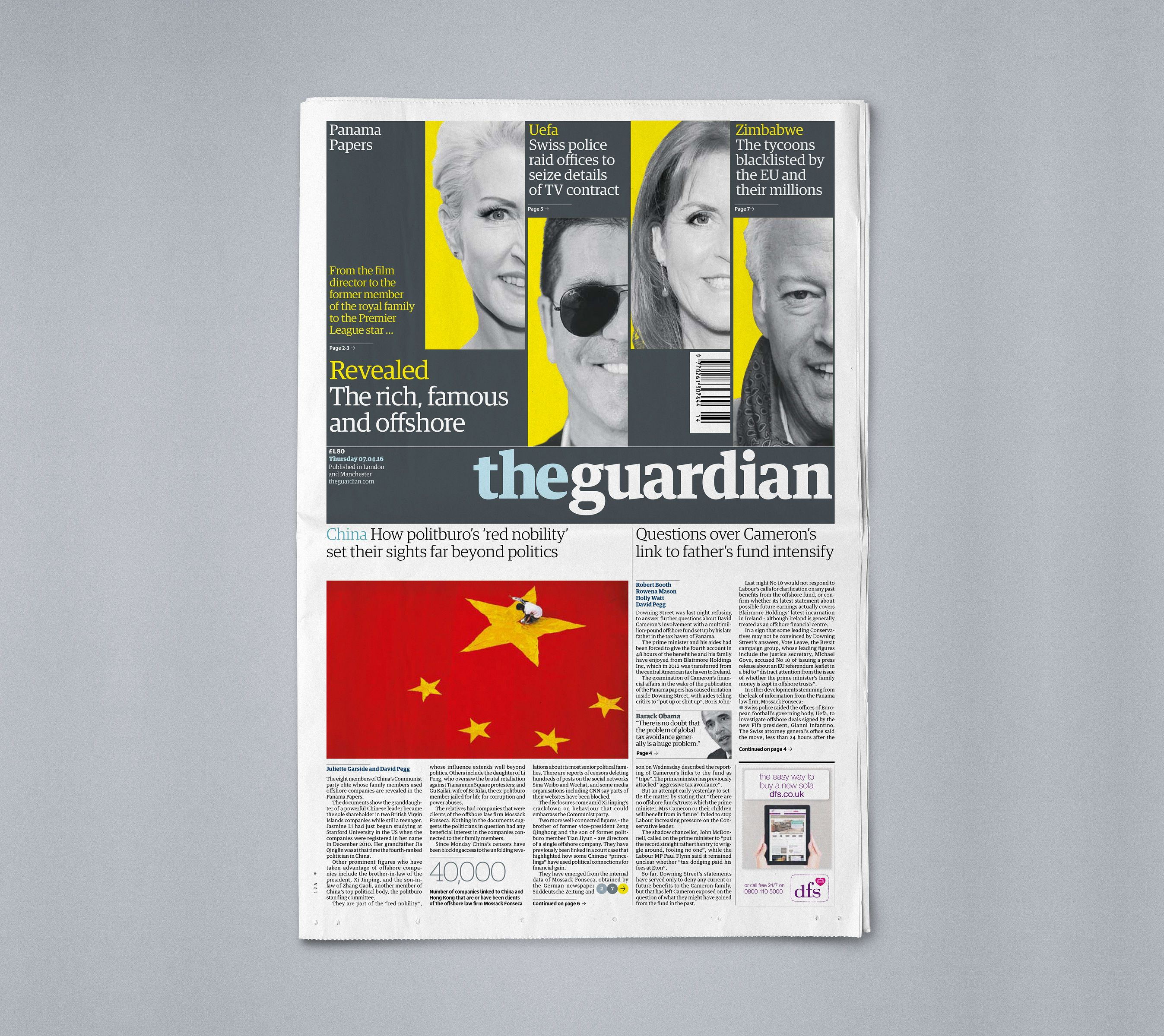 The Panama Papers | Guardian Newspaper Investigation Front Page ...