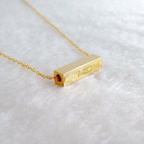 Gold Bar Necklace,Horizontal Bar Necklace,Vertical Name Bar Necklace,Engraved Coordinates Necklace,L