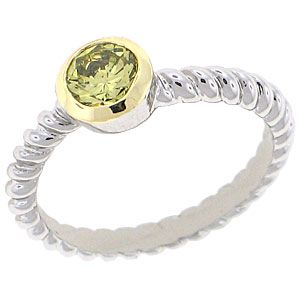 World Class Brilliance with Peridot Cubic Zirconia Stones Two-Tone yellow and white gold overlay RN4478