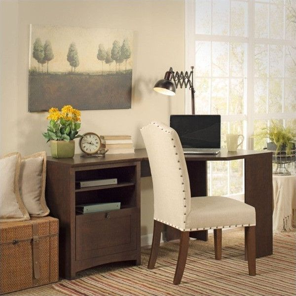 "Bush Buena Vista 60"""" Corner Desk ($246) ❤ liked on Polyvore featuring home, furniture, desks, compact corner desk, file desk, space saving furniture, space saving computer desk and space saving desk"