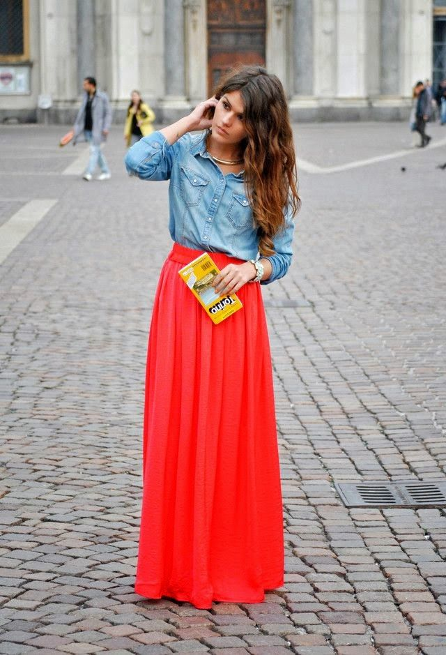 042f8035d7 Fashionable Casual Combination with Full Skirt And Denim Shirt ...