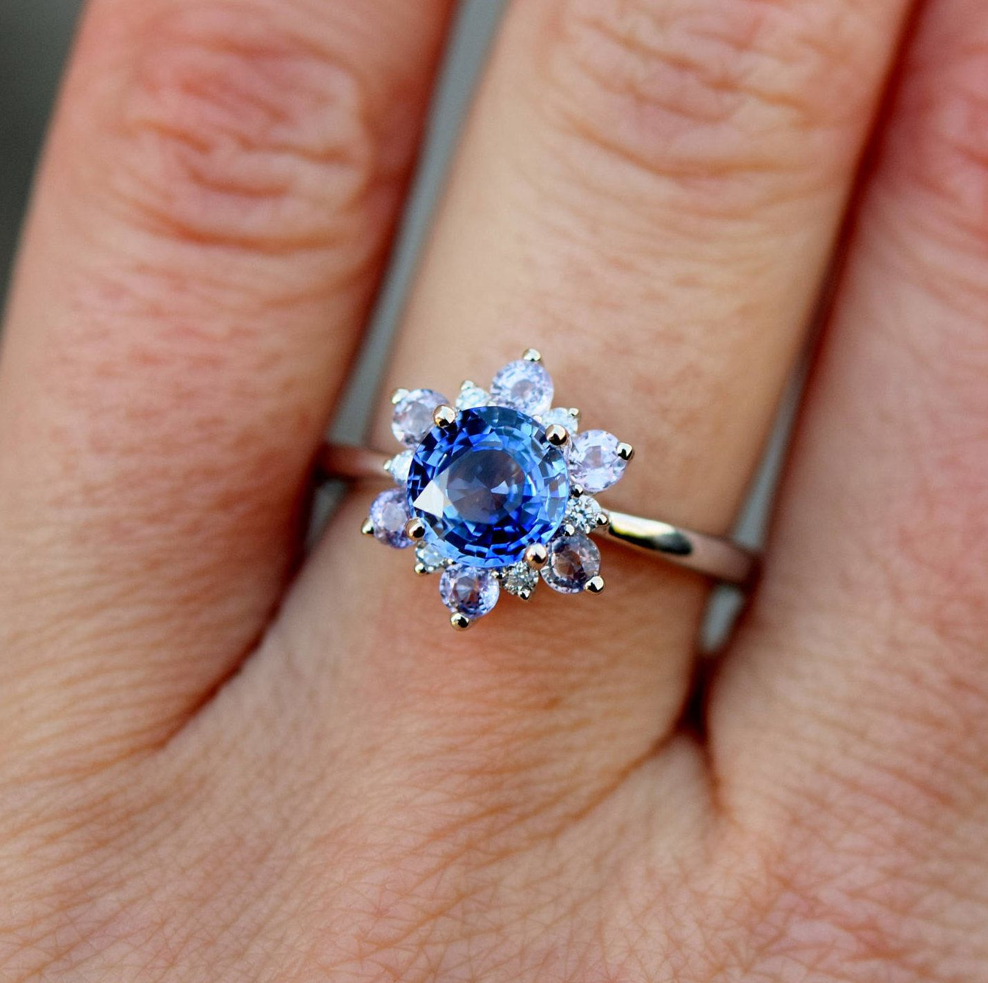 Snowflake Ring Sapphire Engagement Ring Round Blue Sapphire Ring Diamond Rin Sapphire Engagement Ring Blue Round Blue Sapphire Ring White Gold Engagement Rings