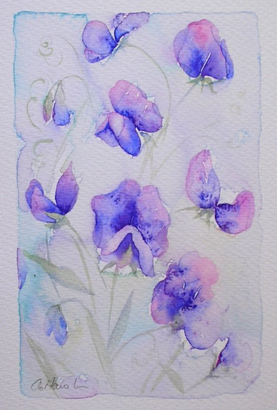 Price Purple Sweet Peas Watercolour Painting Original Art By